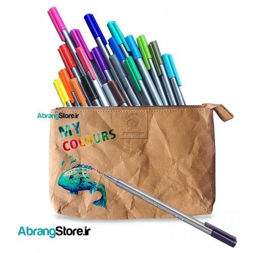 روان نویس استدلر تری پلاس ۲۰ رنگ + کیف رنگ کردنی