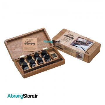 ست کامل خوشنویسی وینزور جعبه چوبی Winsor & Newton Calligraphy Ink Wooden Box Set