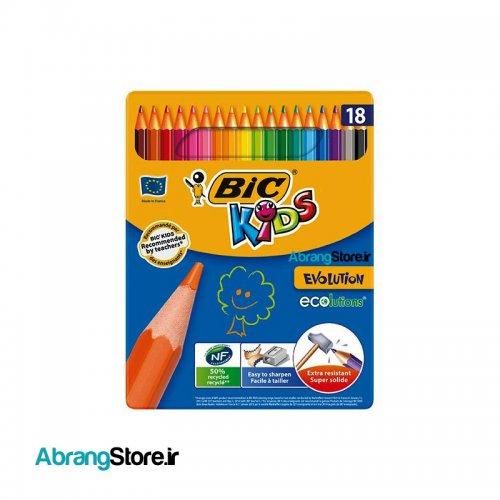 مدادرنگی بیک کیدز جعبه فلزی ۱۸ رنگ | Bic Kids Evolution