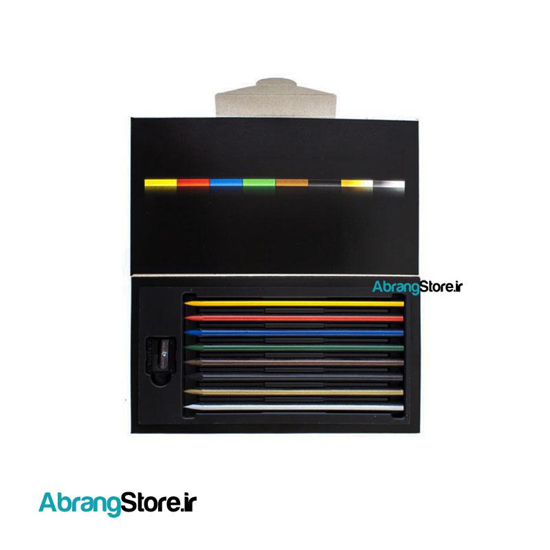 مدادرنگی کالراسترایپ لیرا ۸ رنگ به همراه تراش | LYRA Colorstripe Colored Pencil