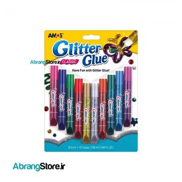 چسب اکلیلی کلاسیک آموس ۱۰ رنگ | Amos Glitte Glue