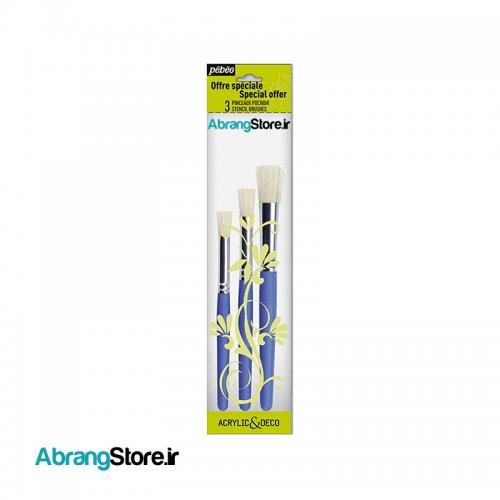 قلم مو استنسیل پ ب او - بسته ۳ عددی | Pebeo Stencil Brushes 1