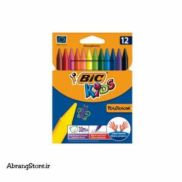 مداد شمعی پلاستی دکور بیک ۱۲ رنگ | BIC PlastiDecor