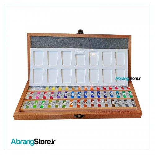 آبرنگ افرا 48 رنگ قرص بزرگ جعبه چوبی به همراه پالتآبرنگ افرا 48 رنگ قرص بزرگ جعبه چوبی به همراه پالت